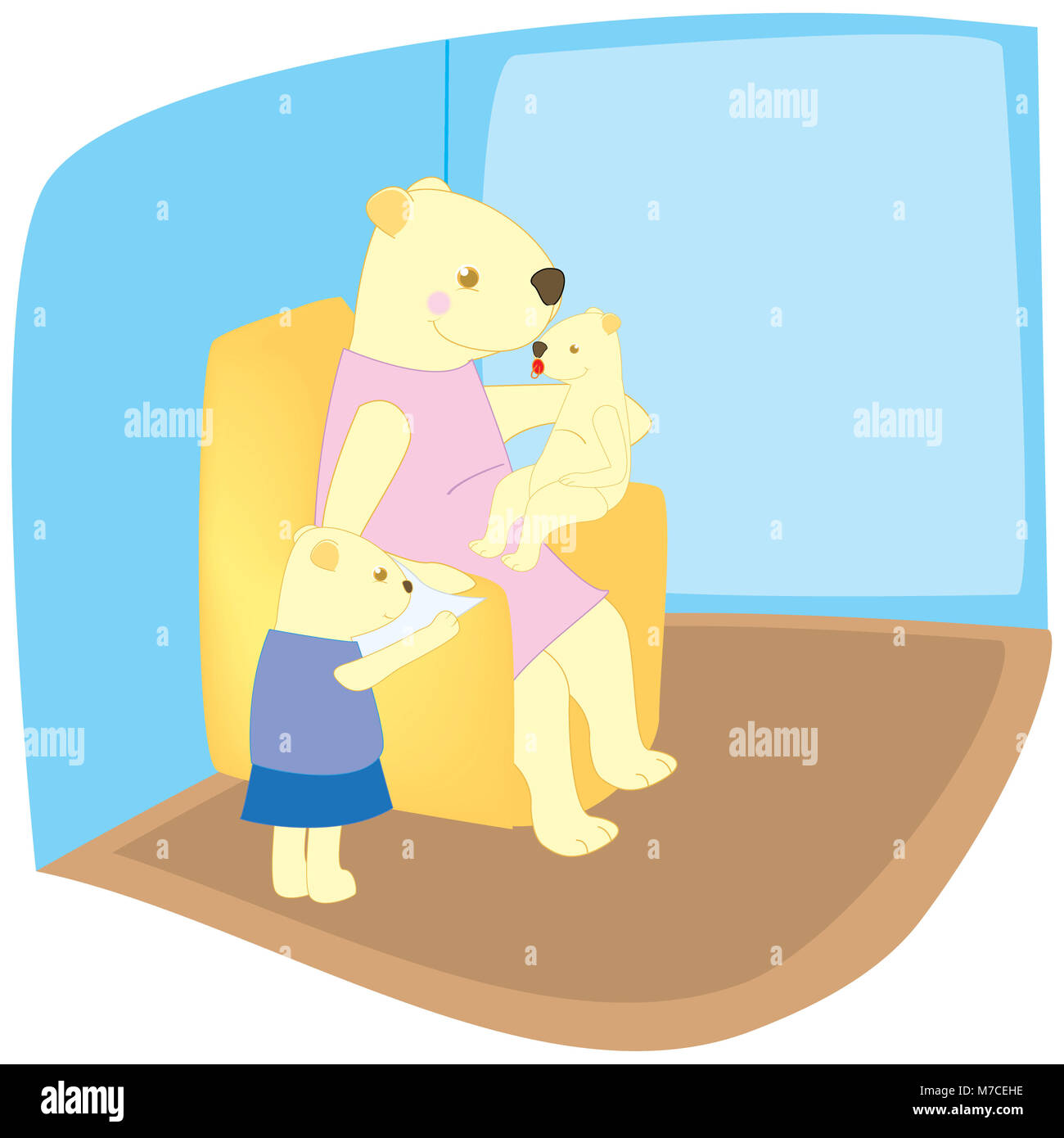 Mother bear sitting on an armchair with her two cubs - Stock Image
