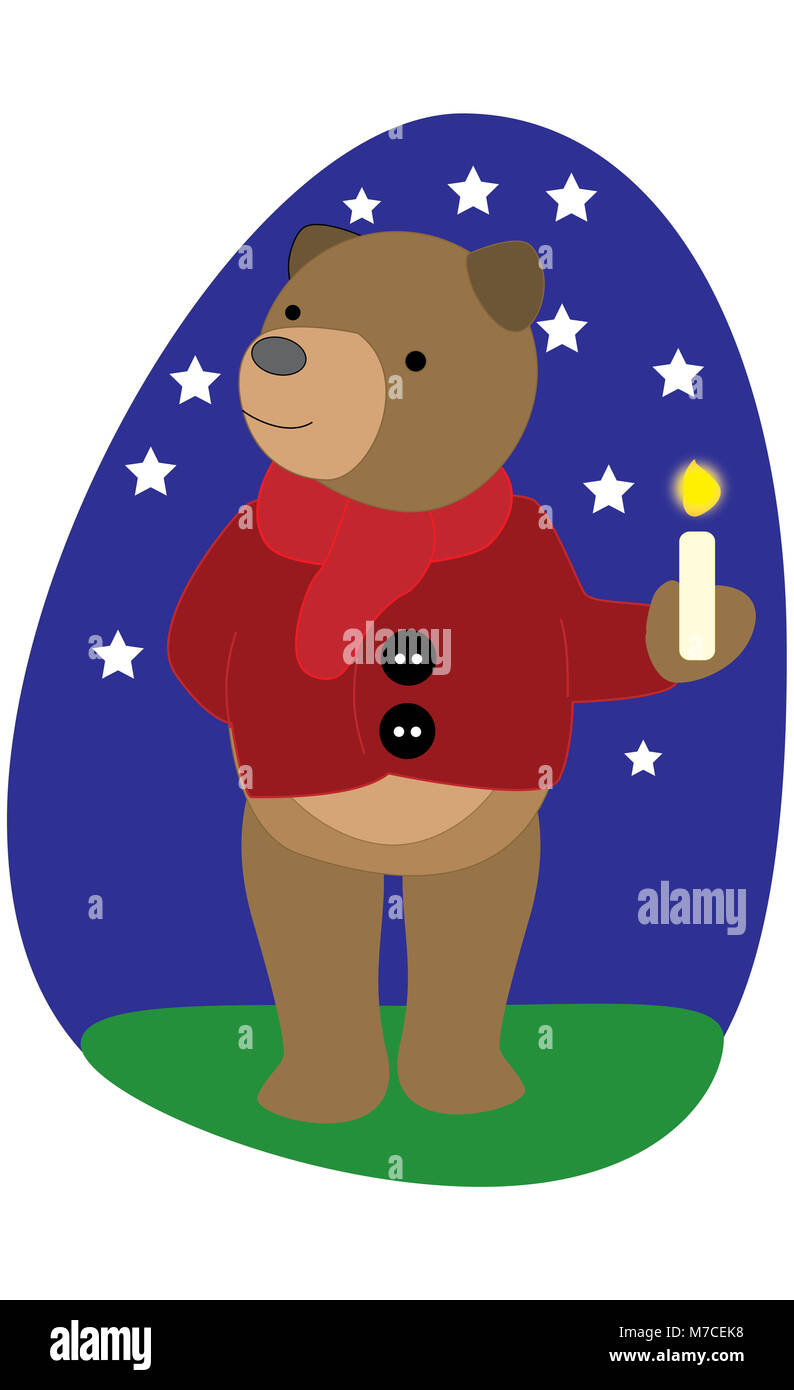 Bear holding a lit candle - Stock Image