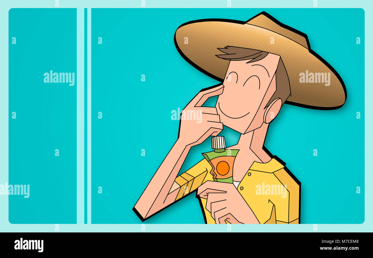 Close-up of a boy applying suntan lotion on his face - Stock Image