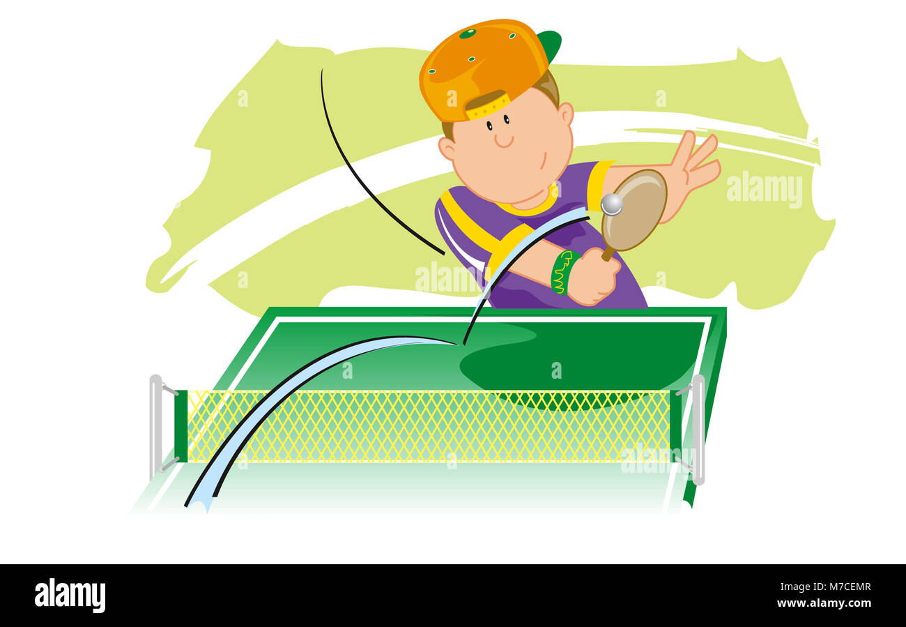 High angle view of a boy playing table tennis - Stock Image