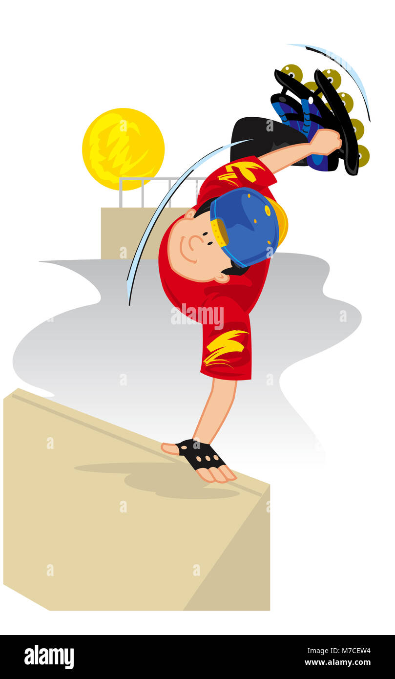 Portrait of a boy performing stunts on roller skates - Stock Image