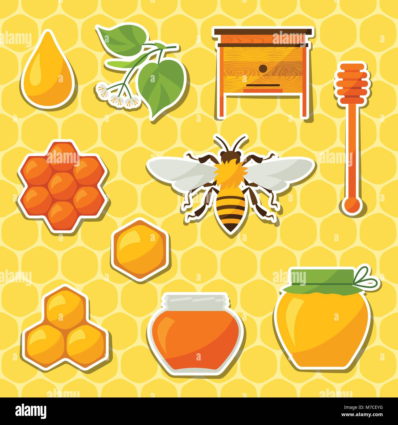 Background design with honey and bee objects - Stock Vector