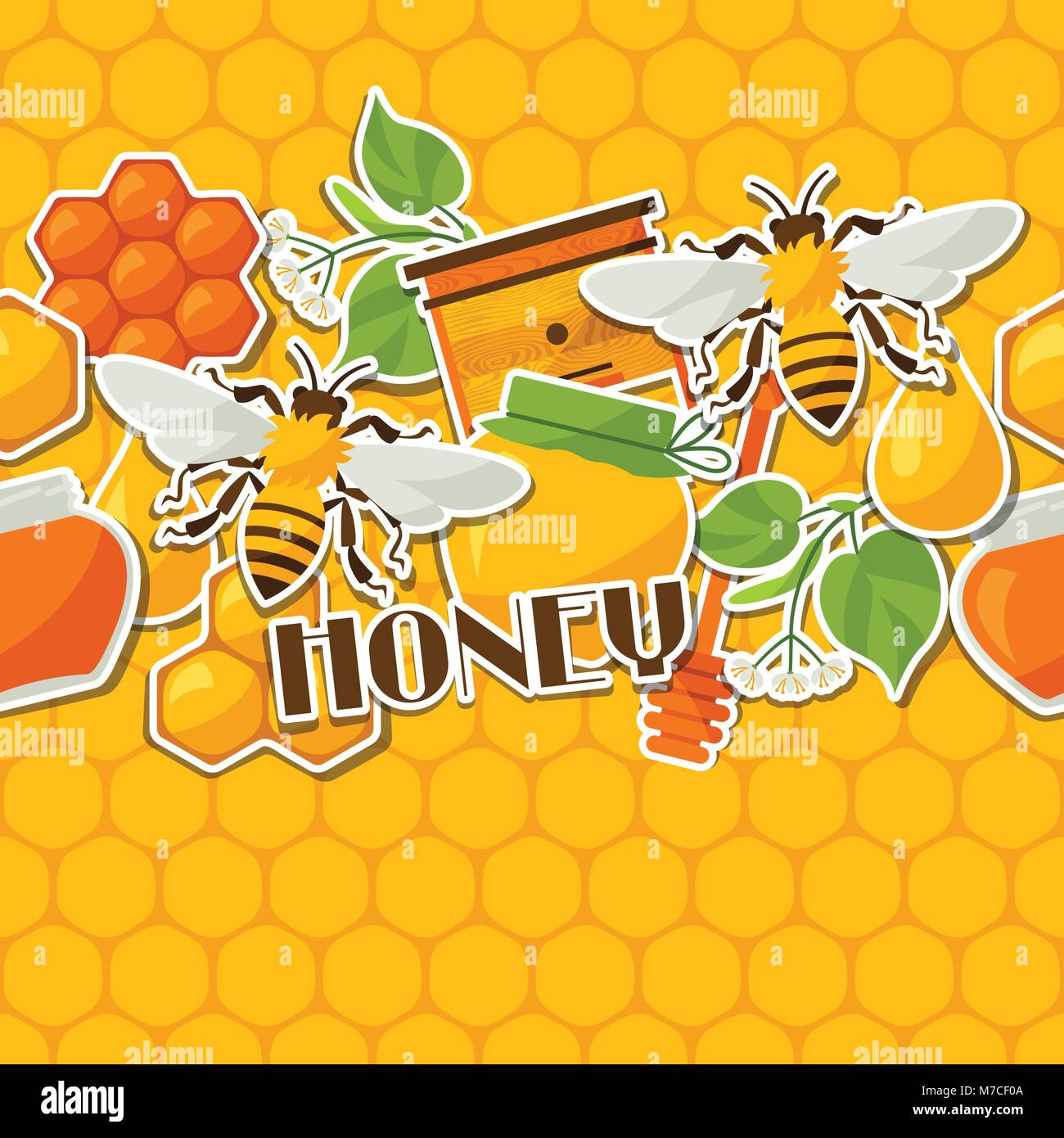 Seamless pattern with honey and bee stickers - Stock Vector