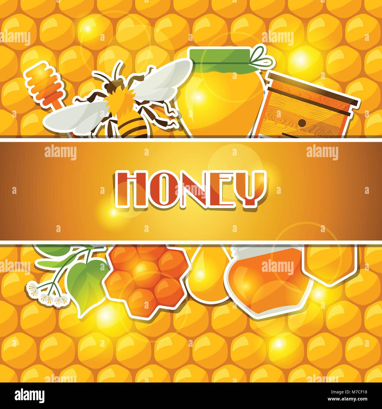 Background design with honey and bee stickers - Stock Vector