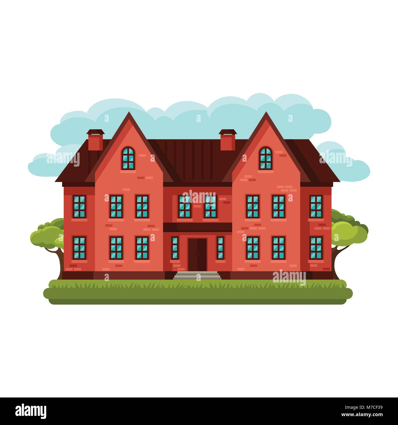 Illustration of old brick cottage on clouds background - Stock Vector