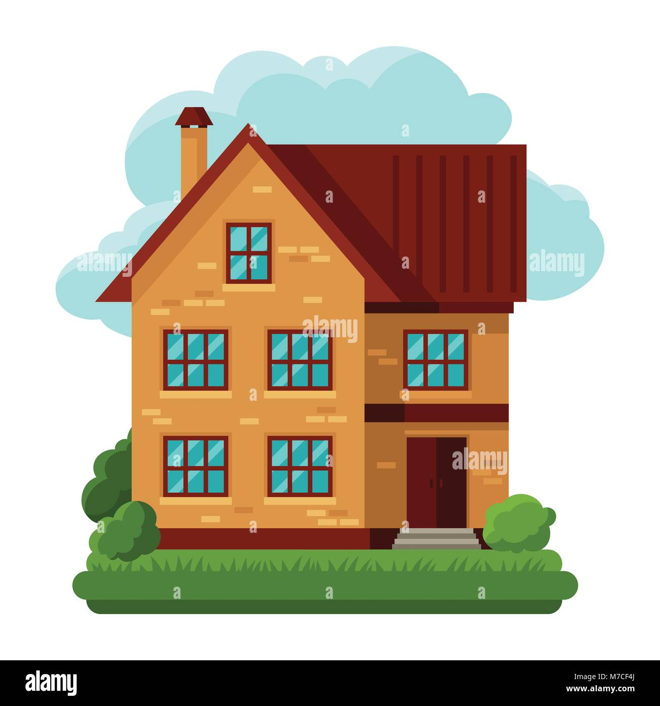 Illustration of old brick cottage on clouds background - Stock Image