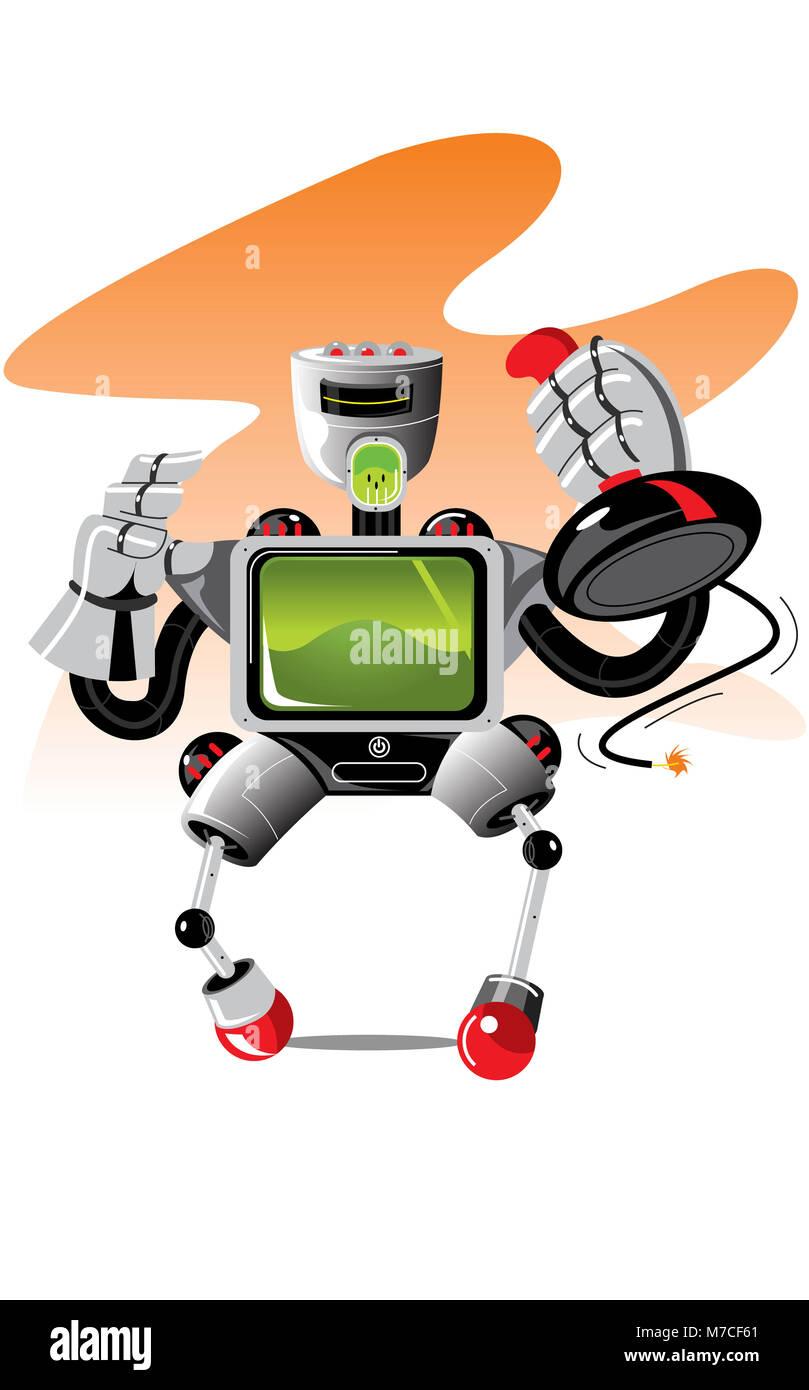 Robot holding a joystick - Stock Image