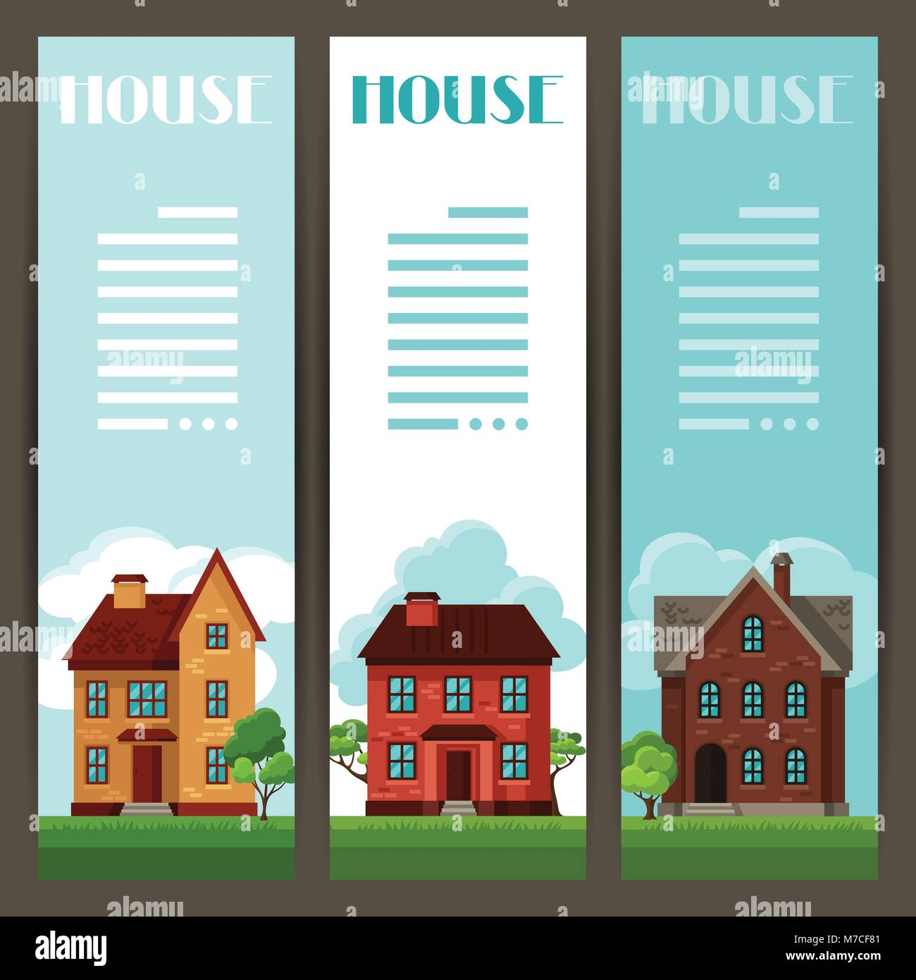Town vertical banners design with cottages and houses - Stock Vector