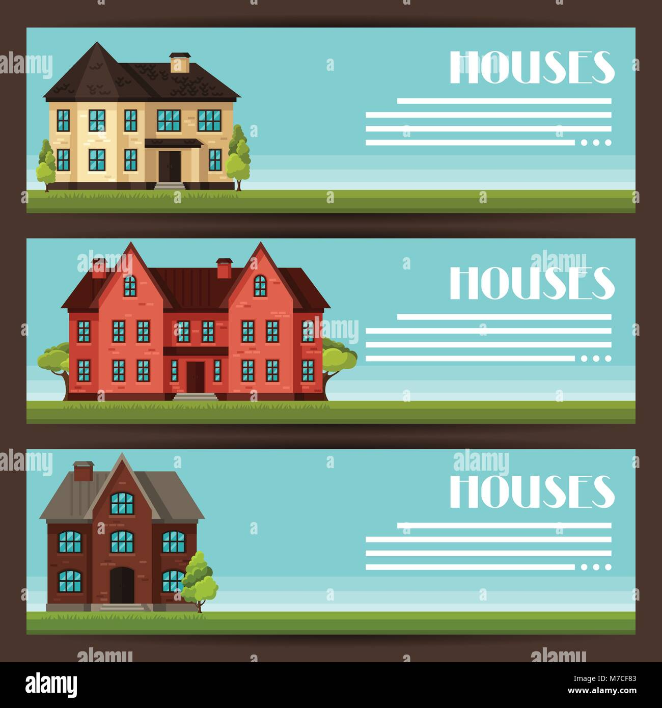 Town horizontal banners design with cottages and houses - Stock Vector