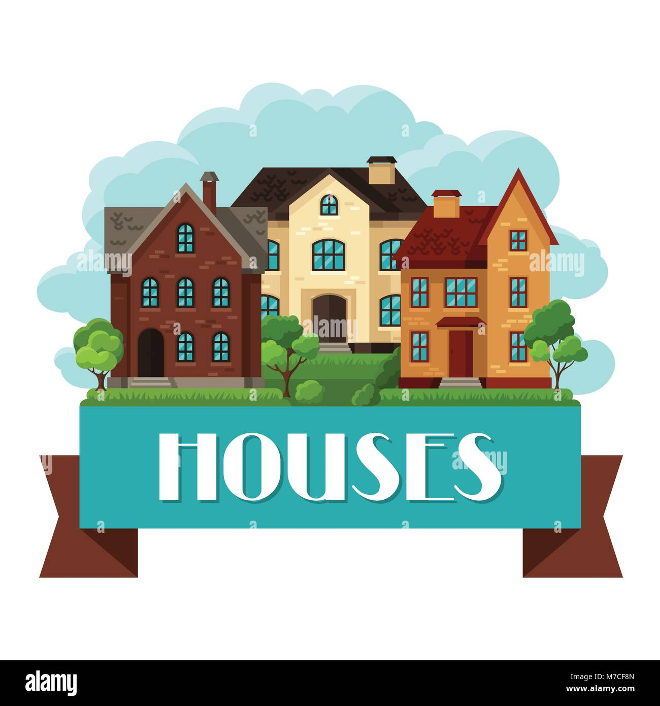 Town background design with cottages and houses - Stock Vector