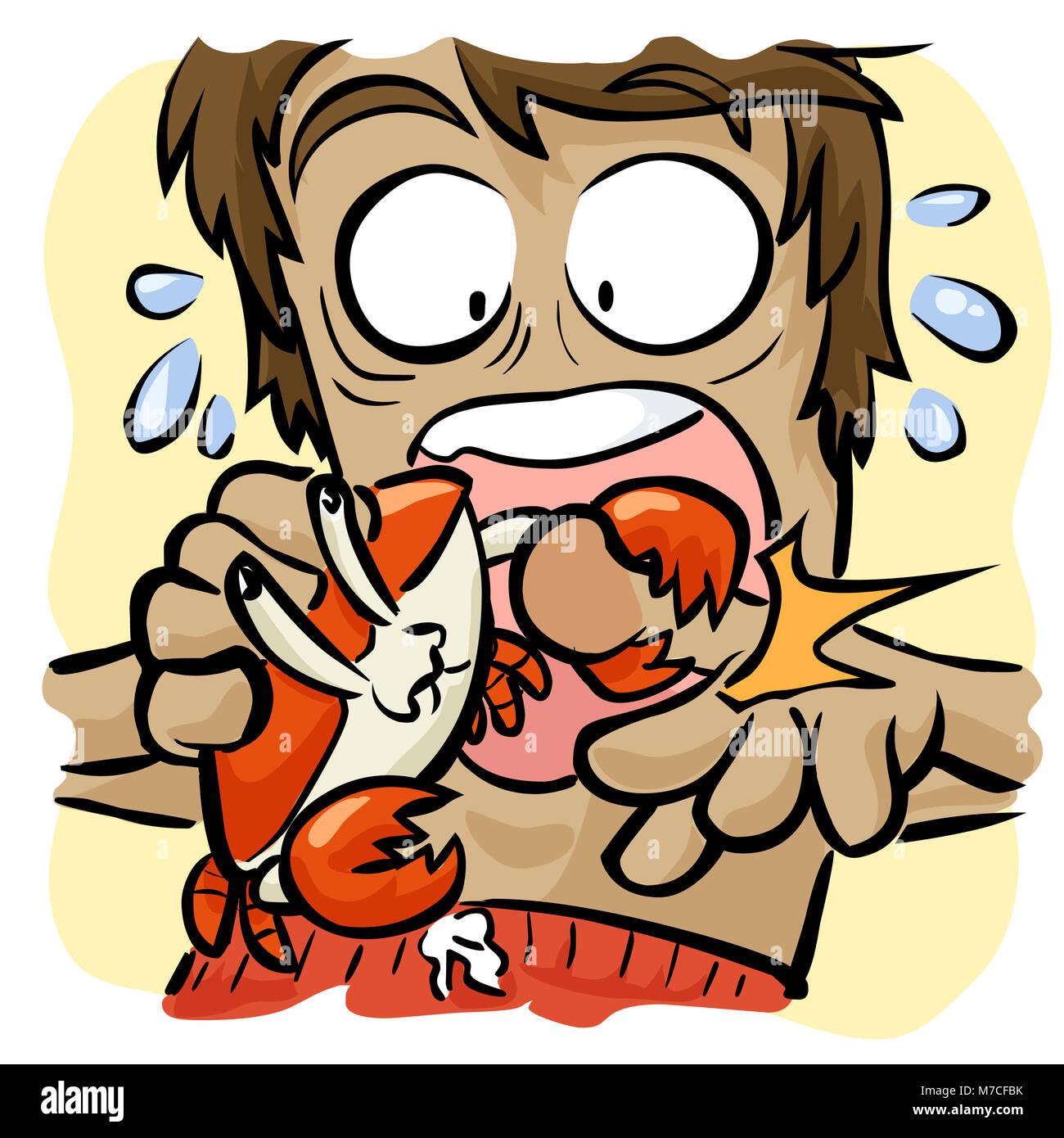 Close-up of a crab biting a man's thumb - Stock Image