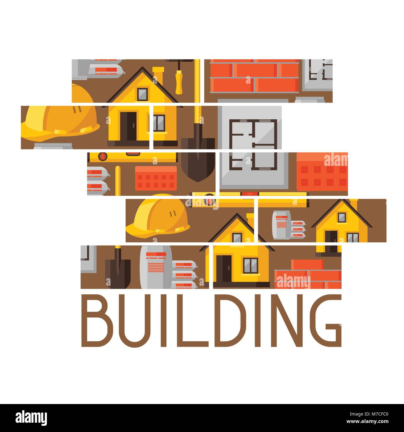 Industrial background design with housing construction objects Stock Vector