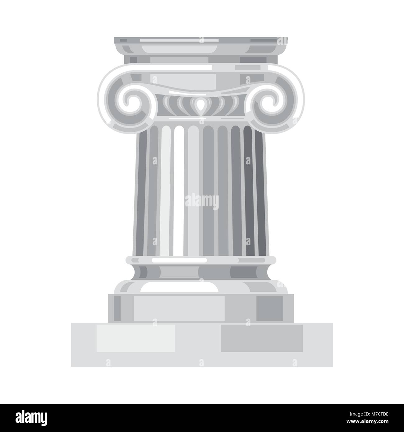 Ionic realistic antique greek marble column isolated - Stock Vector