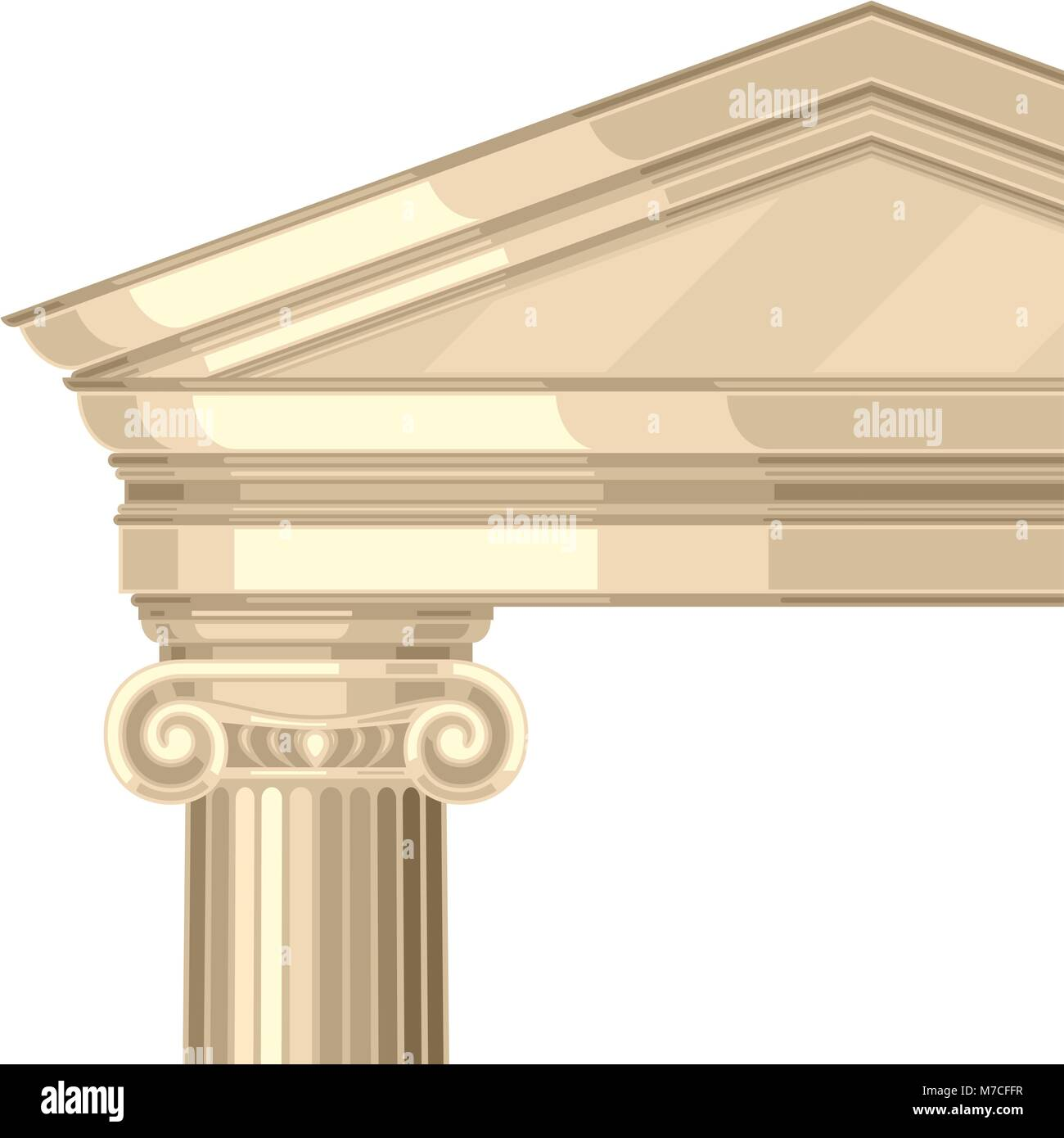 Ionic realistic antique greek temple with columns - Stock Vector
