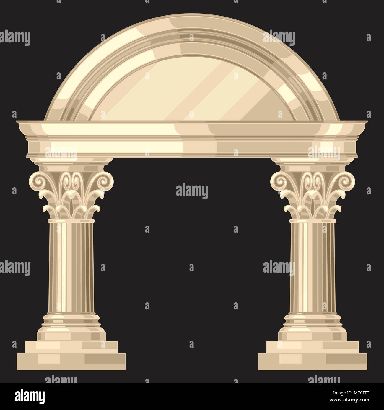 Corinthian realistic antique greek temple with columns Stock Vector