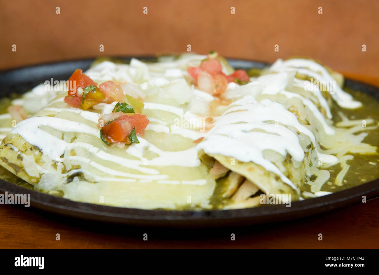 Close-up of enchiladas in a plate Stock Photo