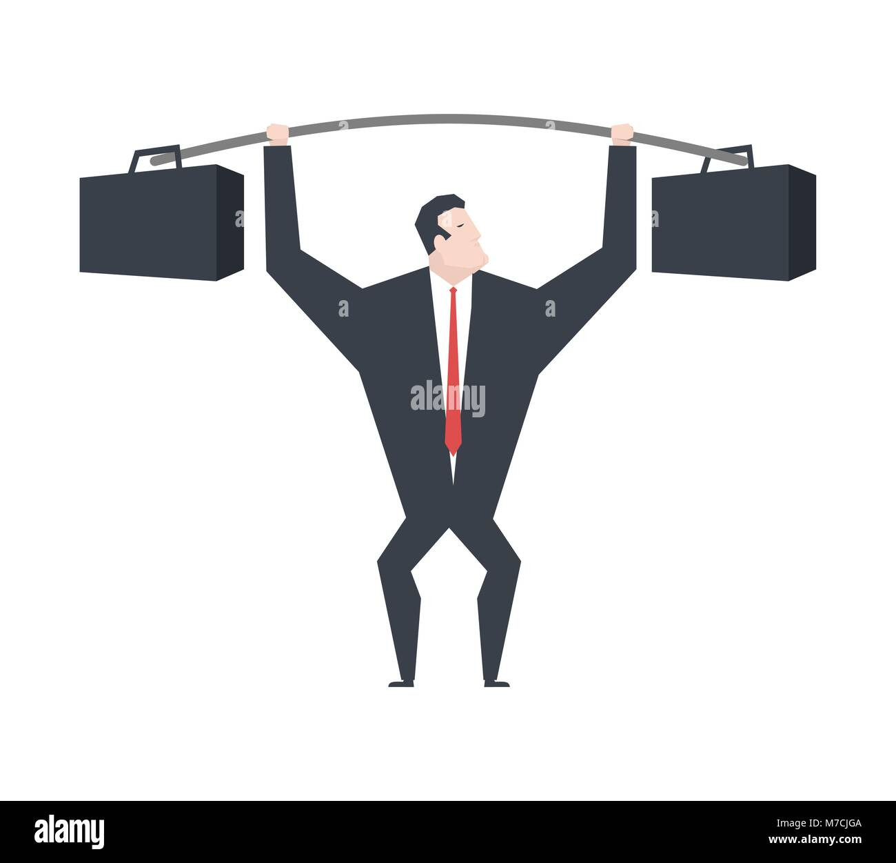Businessman lifts weights Heavy suitcase. Boss is weightlifter. office life vector illustration. - Stock Vector