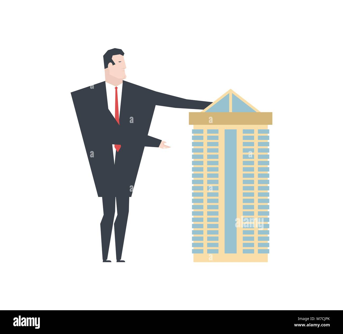 Realtor shows House. office building for sale. Vector illustration Stock Vector