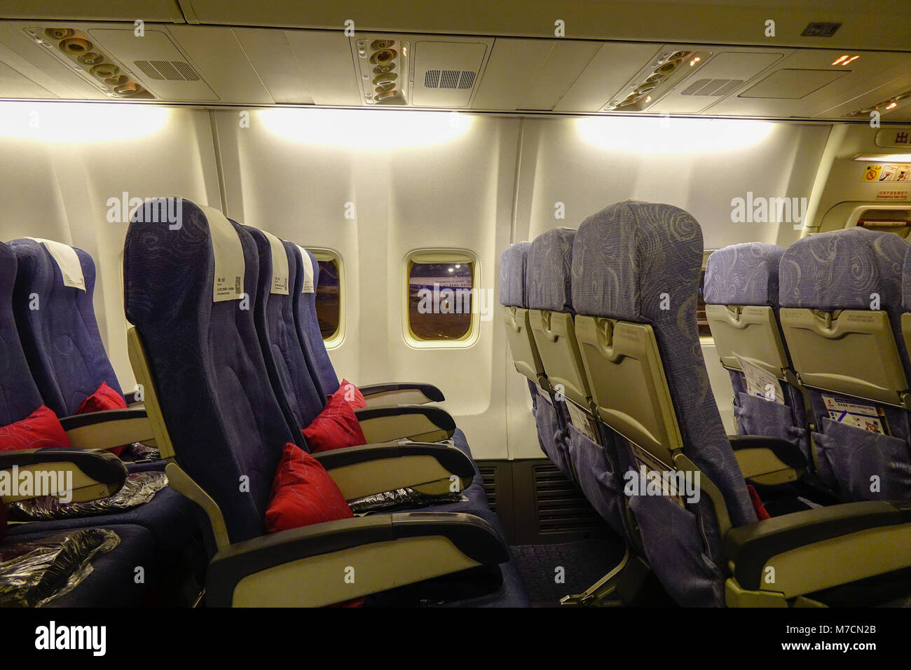 Beijing, China - Feb 17, 2018. Inside of a civil aircraft at Beijing Capital Airport, China. - Stock Image