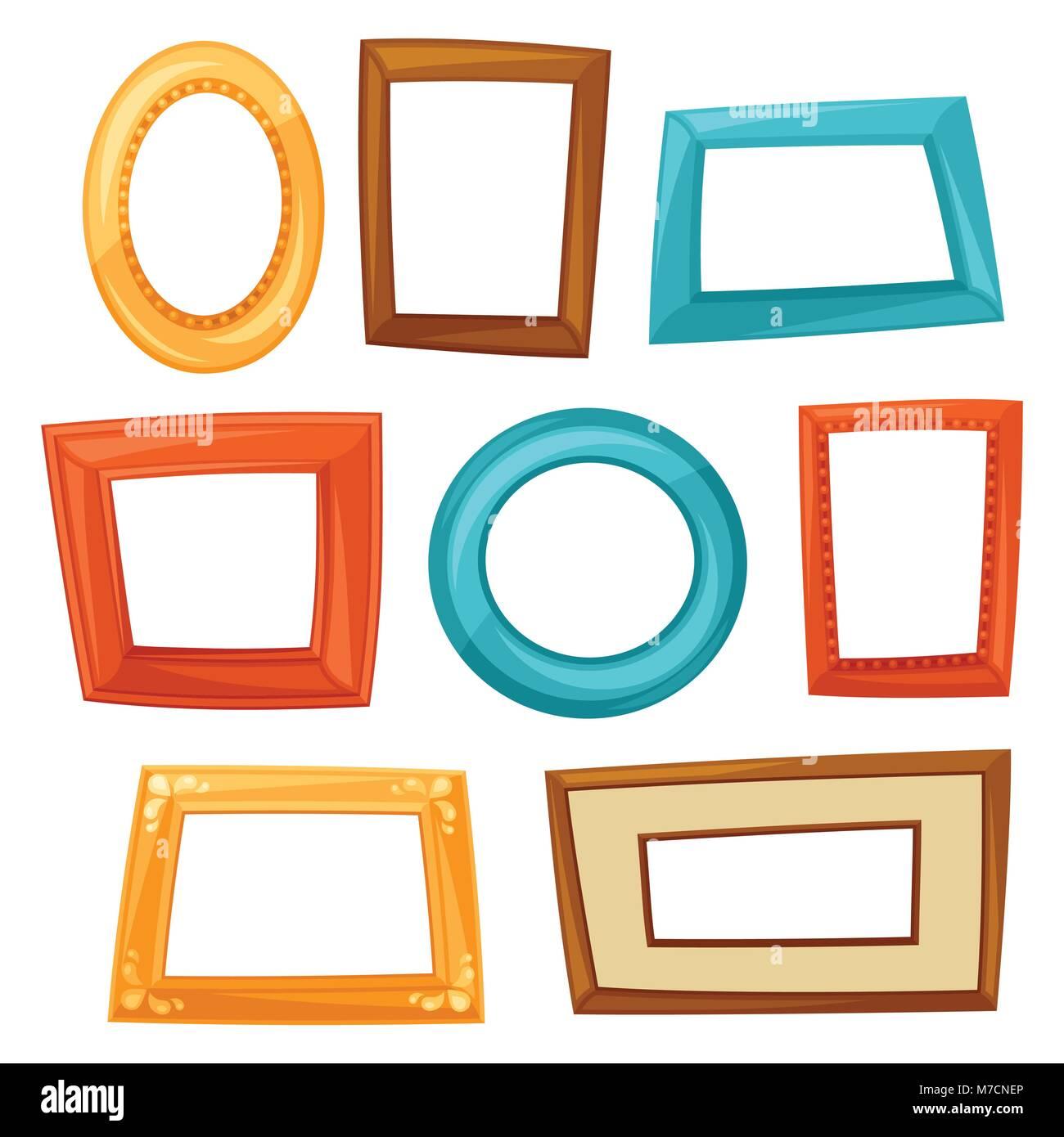 Set of color various frames on white background Stock Vector Art ...