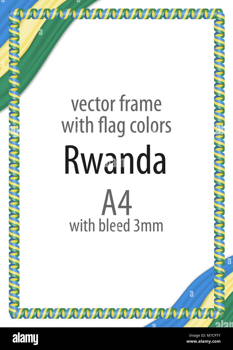 Frame and border of ribbon with the colors of the Rwanda flag - Stock Vector