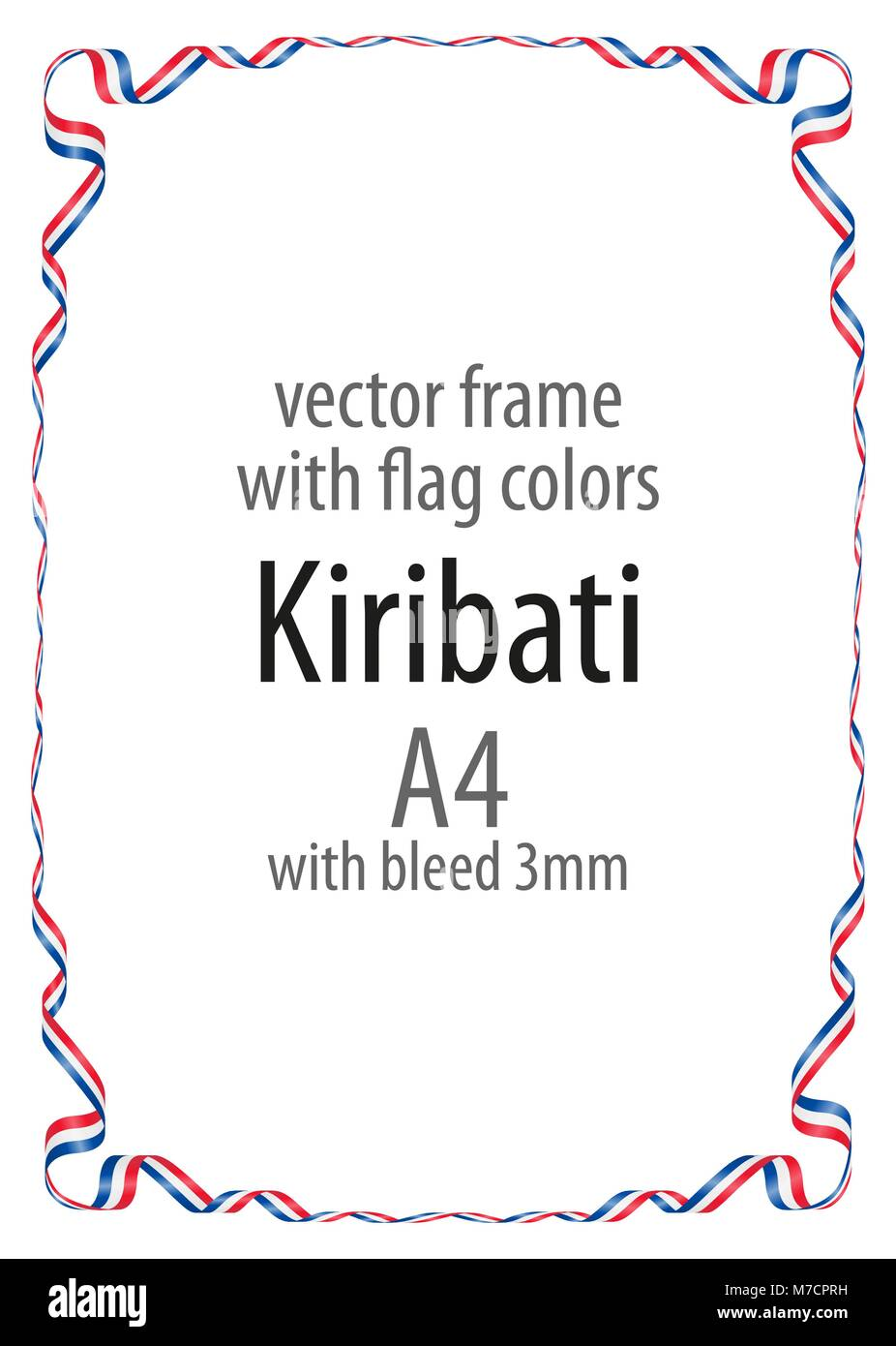 Frame and border of ribbon with the colors of the Kiribati flag - Stock Image