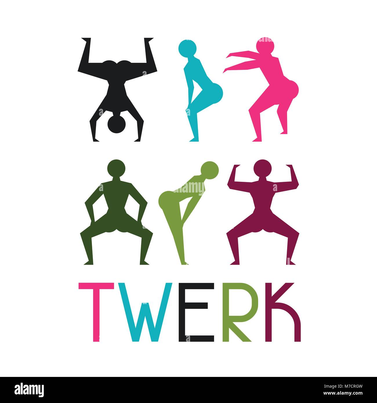 Twerk and booty dance background for dancing studio Stock Vector