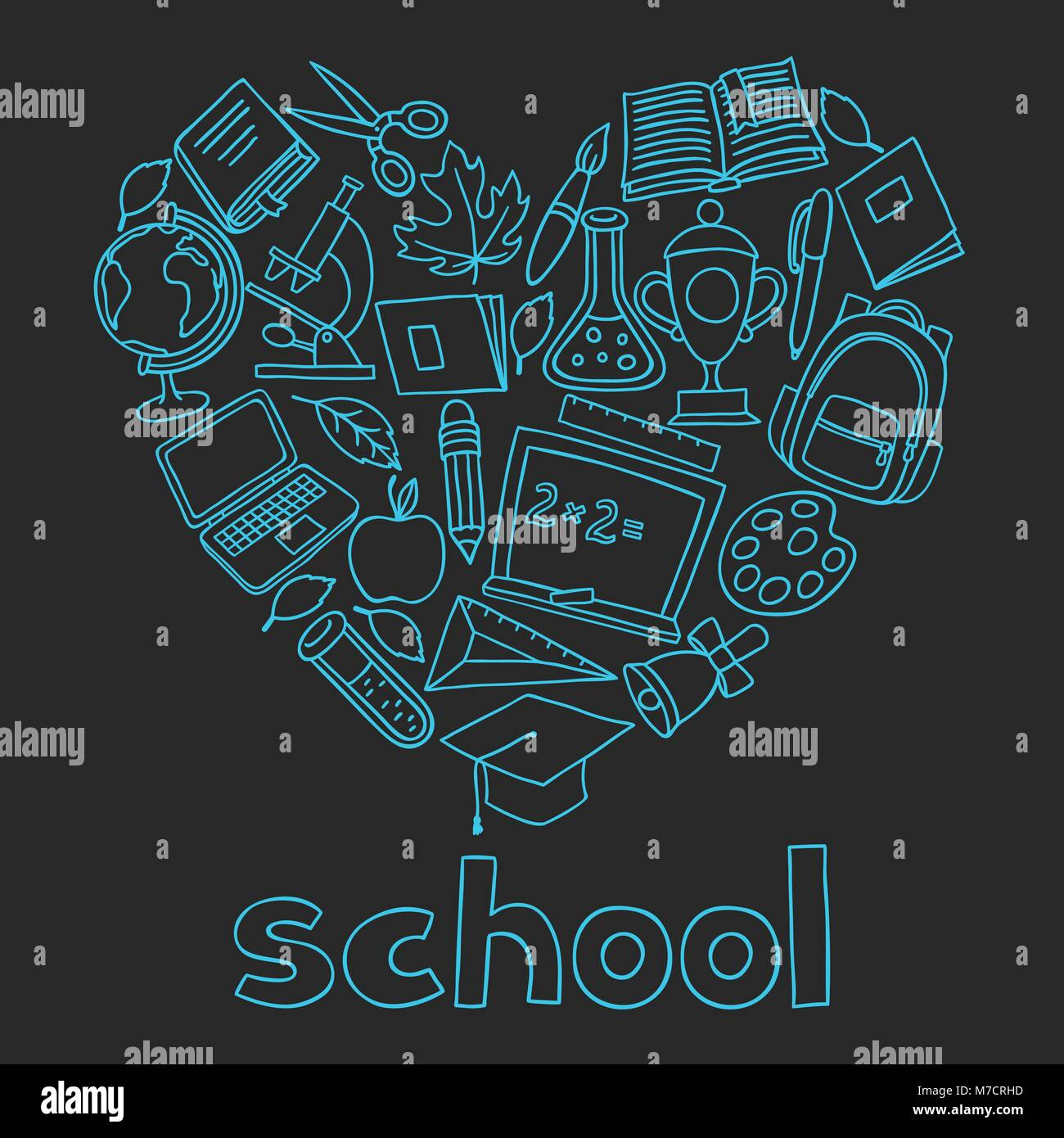 School background with hand drawn icons on chalk board - Stock Image