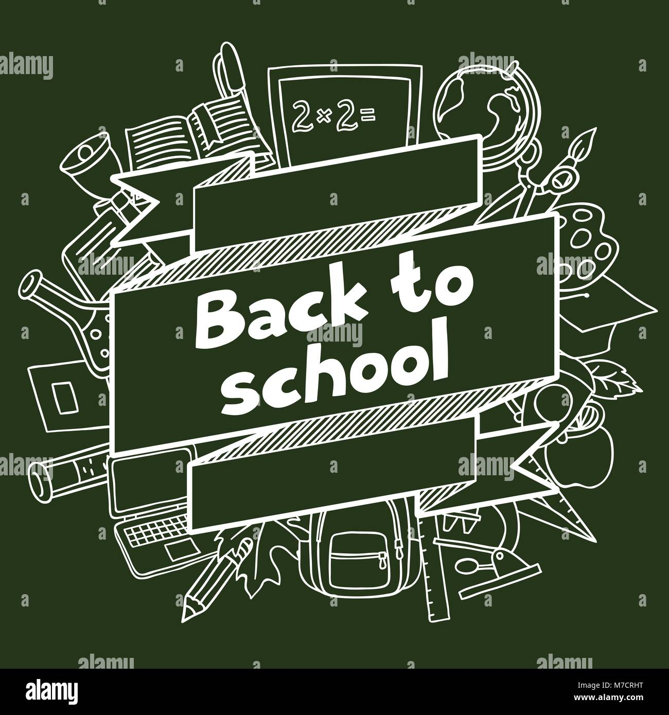 Back to school background with hand drawn icons on chalk board - Stock Image