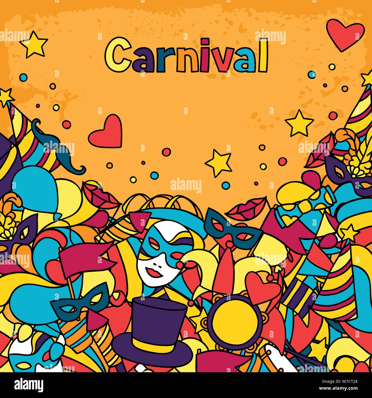 Carnival show background with doodle icons and objects Stock Vector