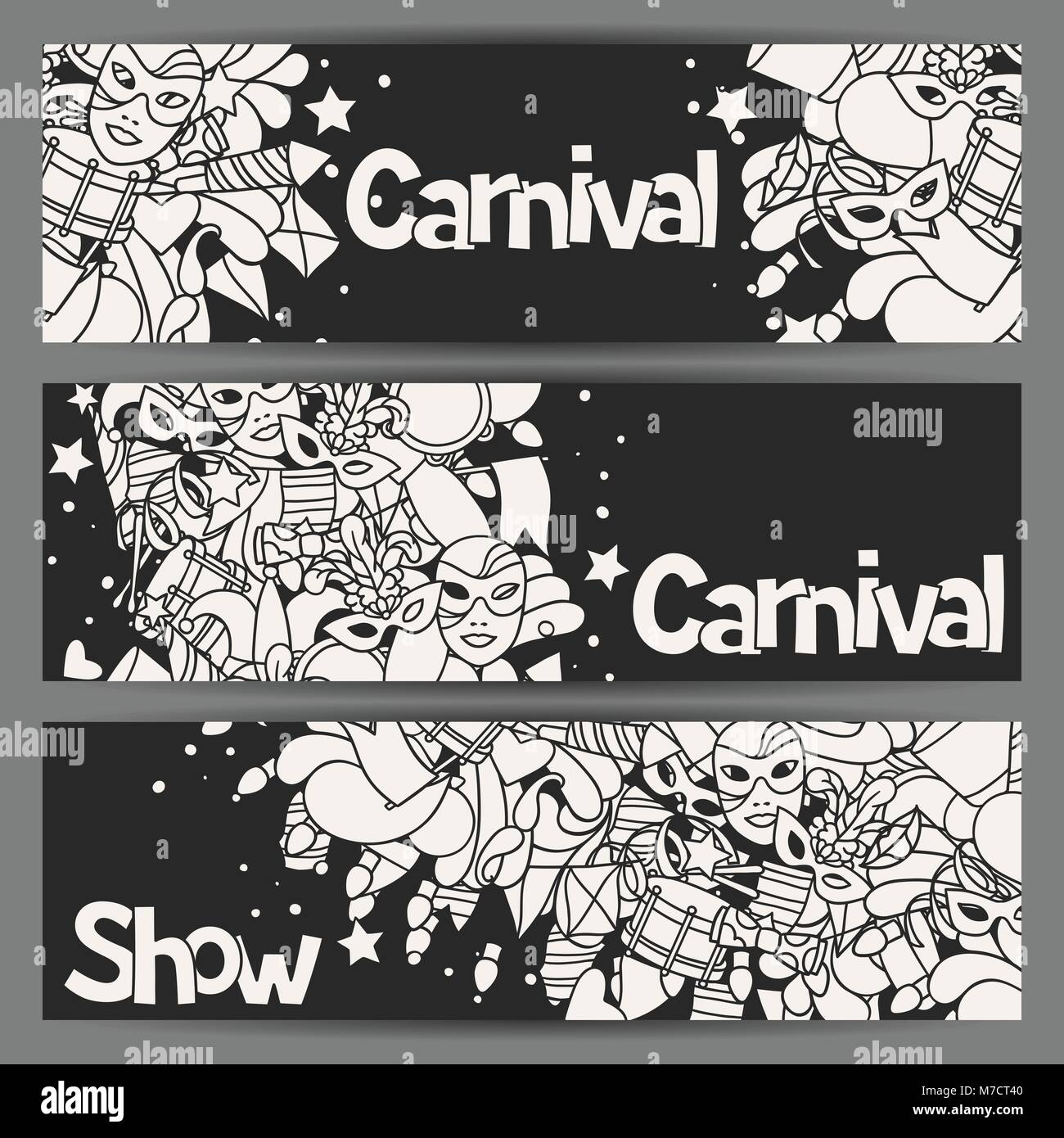 Carnival show banners with doodle icons and objects Stock Vector Art