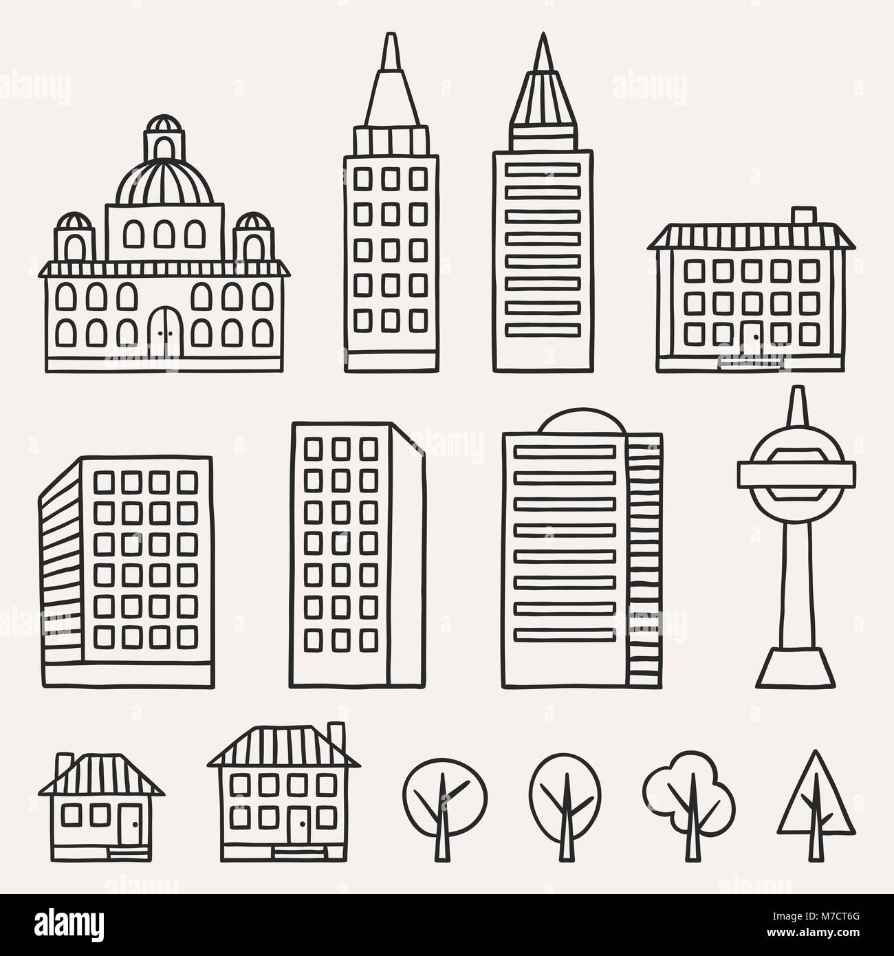 Set of hand drawn houses for town illustration - Stock Vector