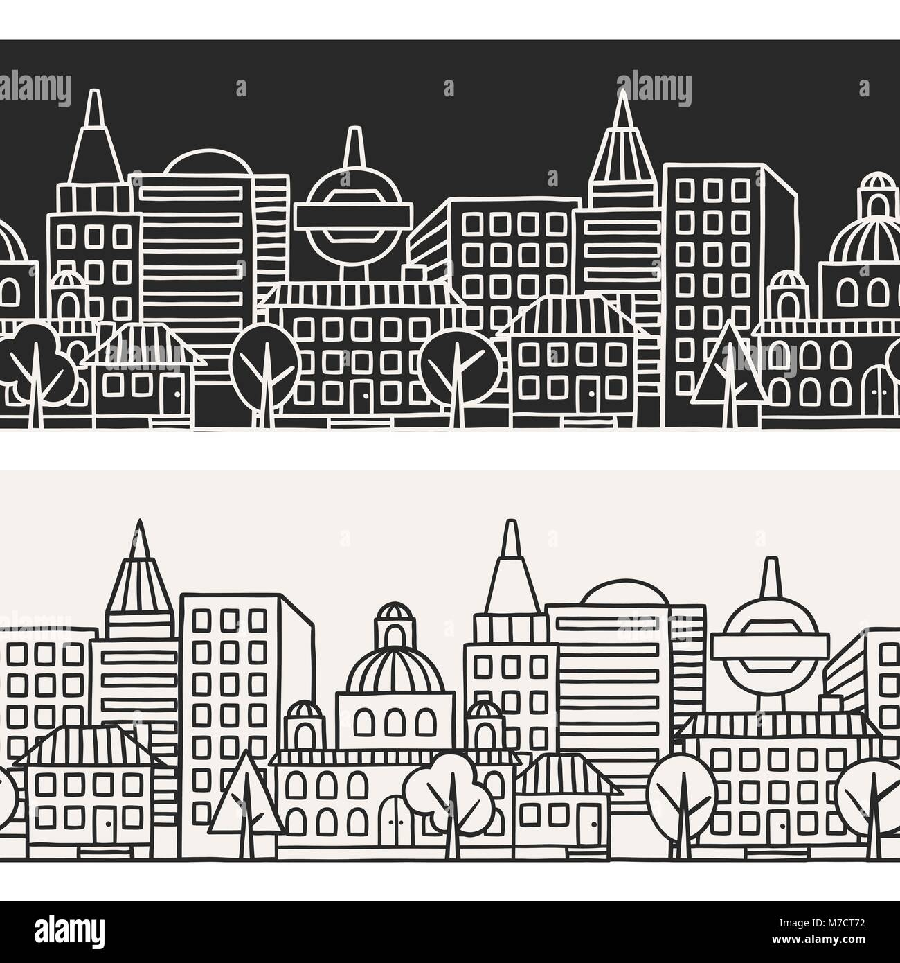 Town seamless pattern with hand drawn houses - Stock Image