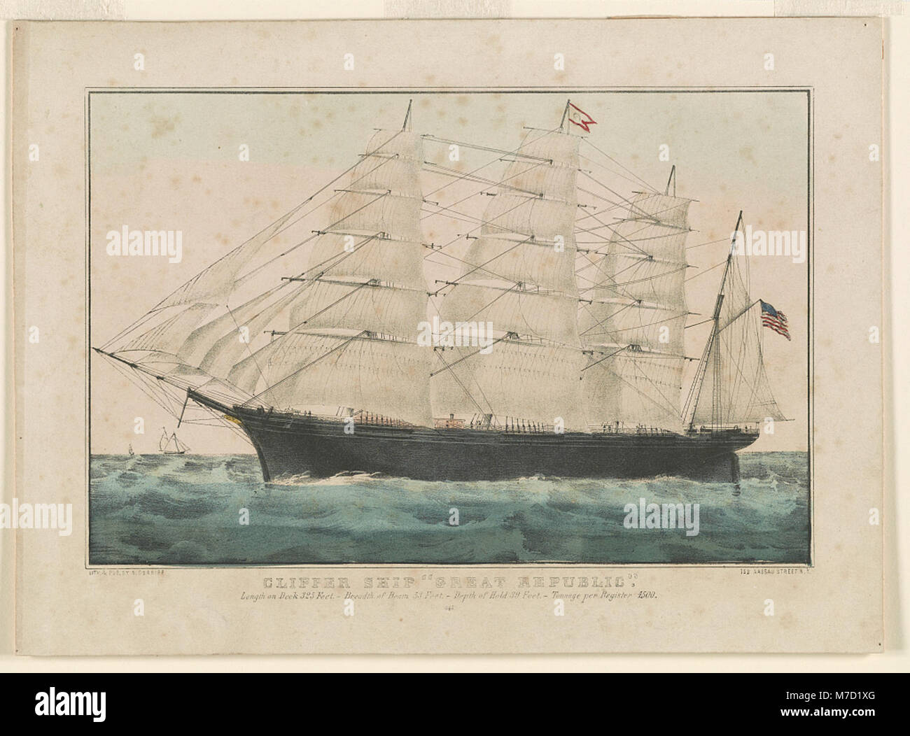 Clipper ship 'Great Republic'- Length on deck 325 feet.-Breadth of beam 53 feet.-Depth of hold 39 feet. - Stock Image