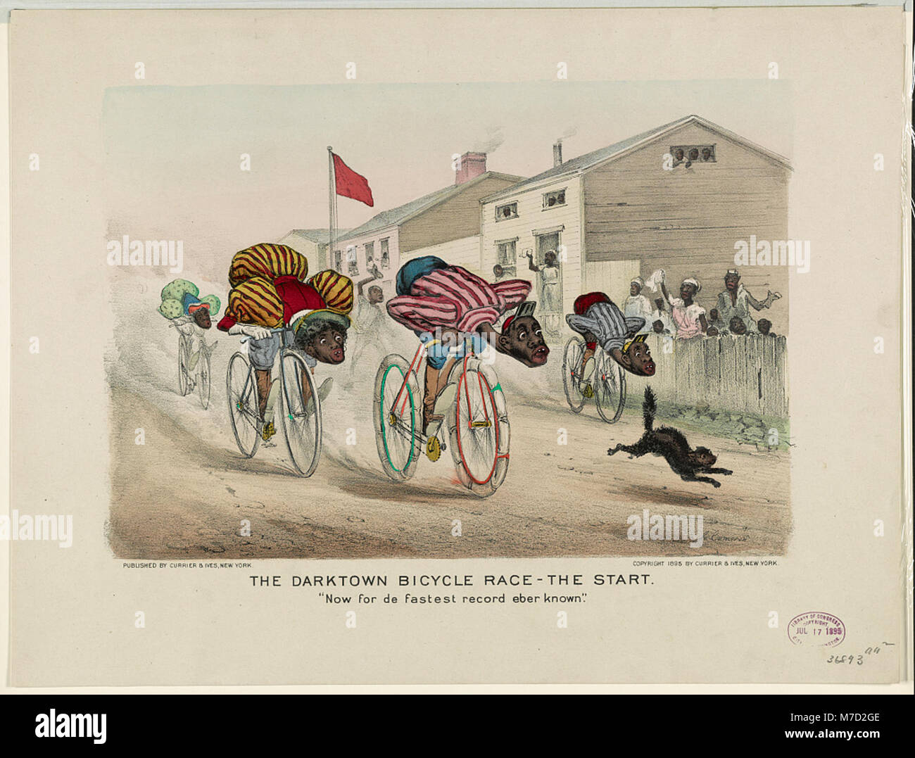 The darktown bicycle race-the start- 'Now for de fastest record eber known' LCCN91724154 - Stock Image