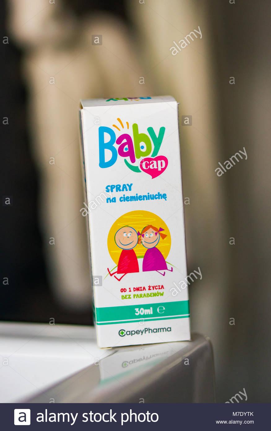 Poznan, Poland - March 03, 2018: Baby Cap spray medicine for cradle cap in a box - Stock Image