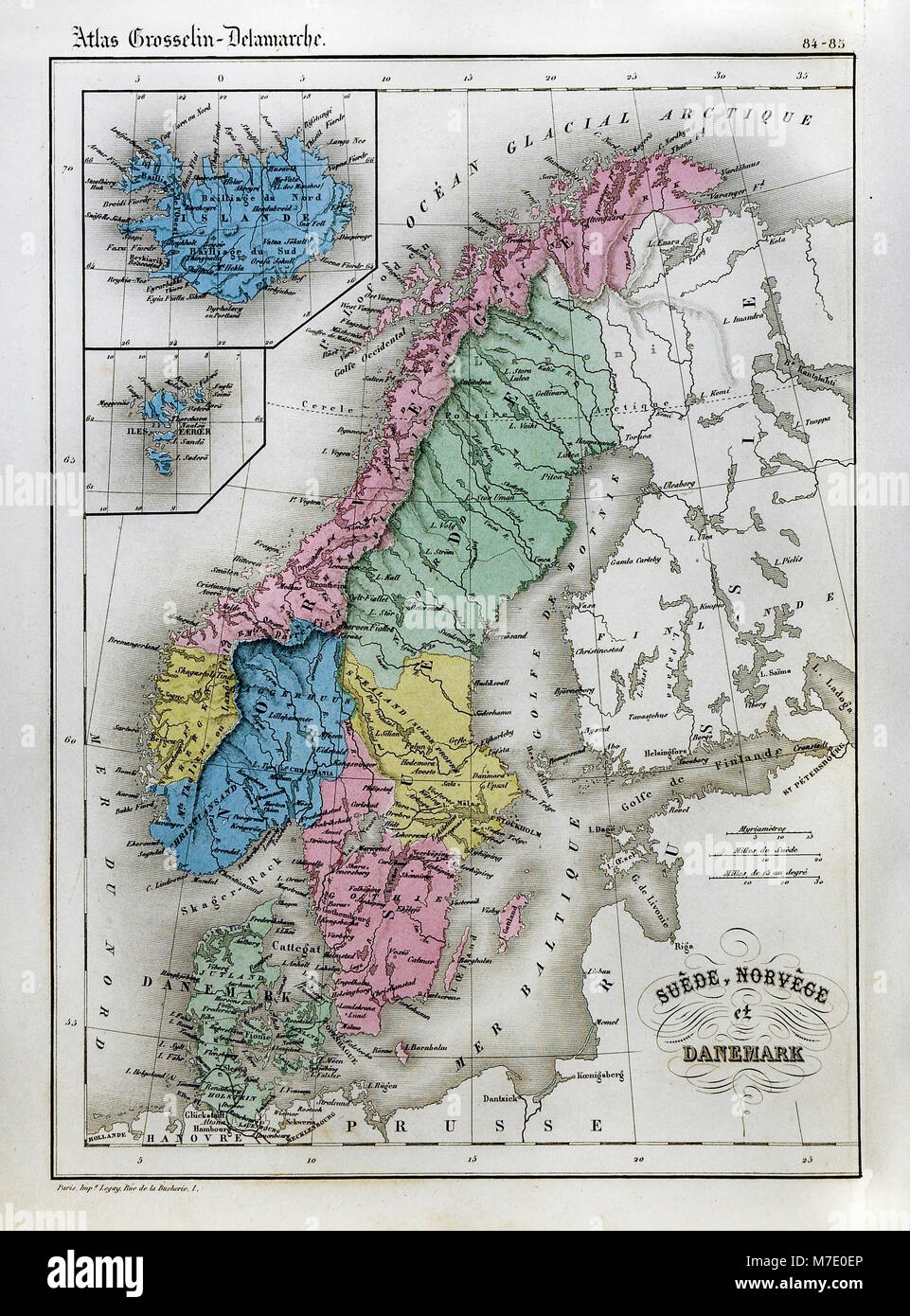 1858 Delamarche Map Scandinavia Europe Sweden Norway Denmark Stock Photo Alamy