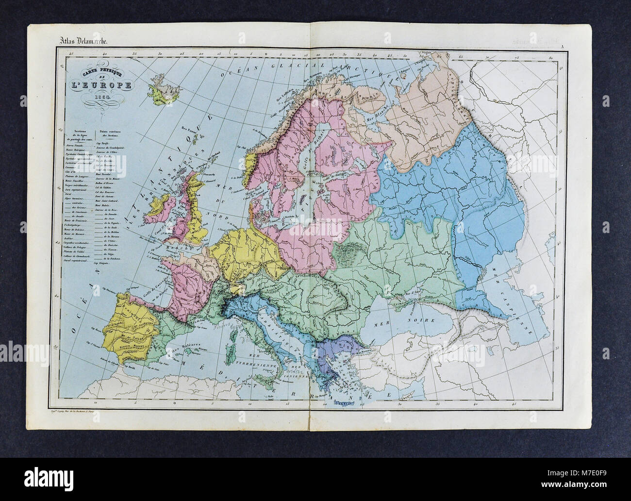 1864 Delamarche Physical Map of Europe Stock Photo ...