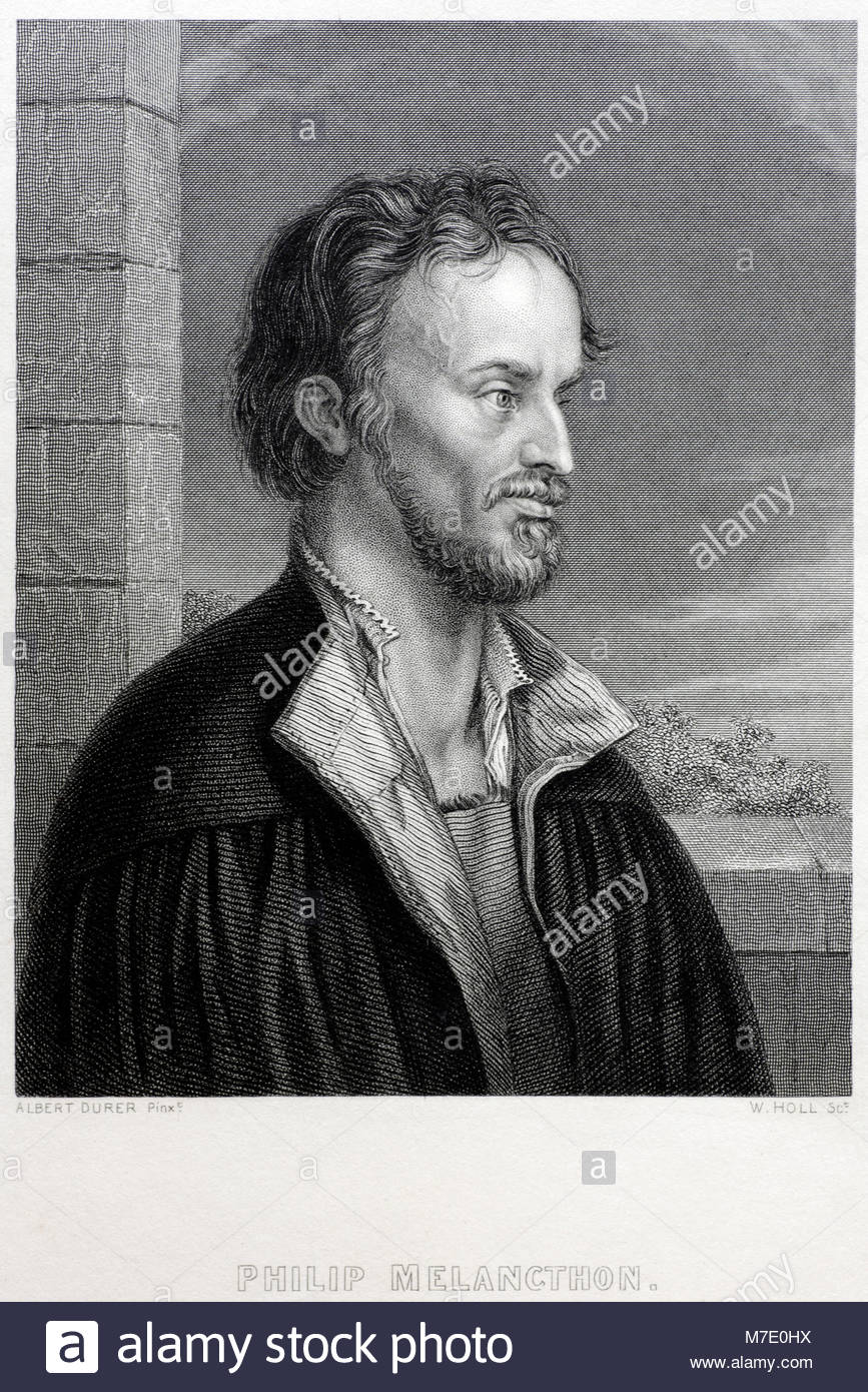 Philip Melanchthon portrait was a German Lutheran reformer, and collaborator with Martin Luther 1497 – 1560, antique - Stock Image