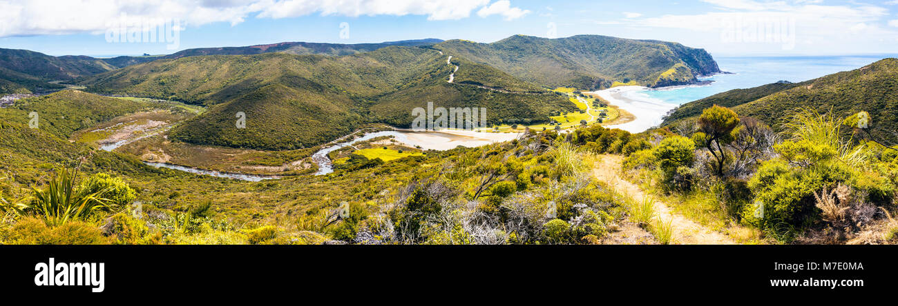 Panorama overlooking the Tapotupotu Stream and campground, the nearest campsite to Cape Reinga, North Island, New Stock Photo