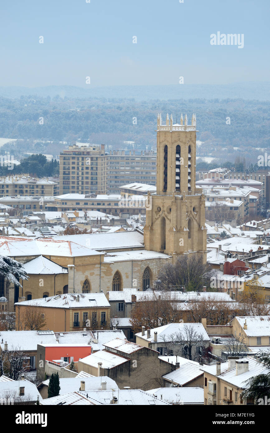 View over Aix-en-Provence and its Cathedral Under Snow in Winter Provence France Stock Photo