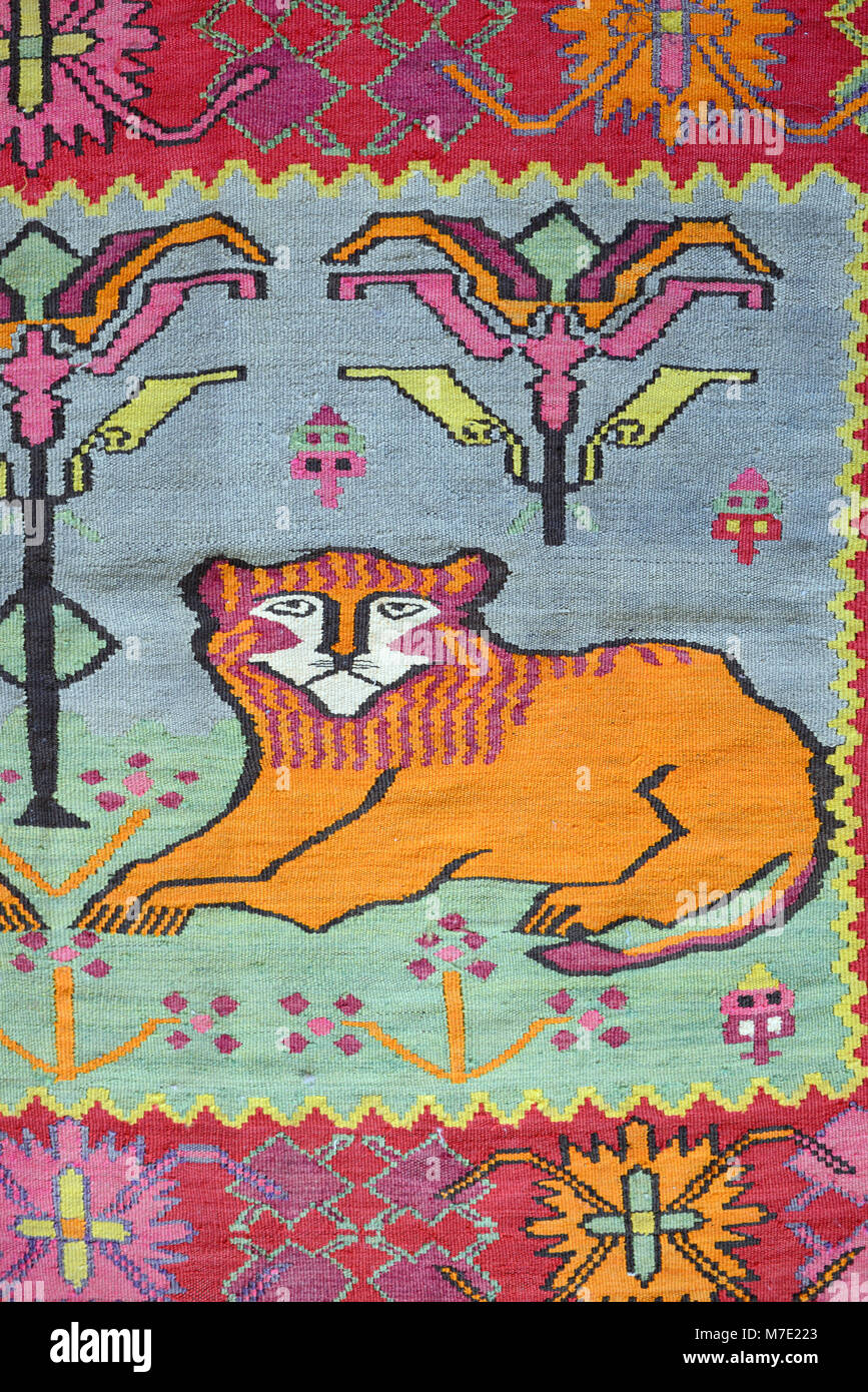 Stylised Lion Motif on Old Armenian Rug, Carpet or Kilim, Armenia - Stock Image