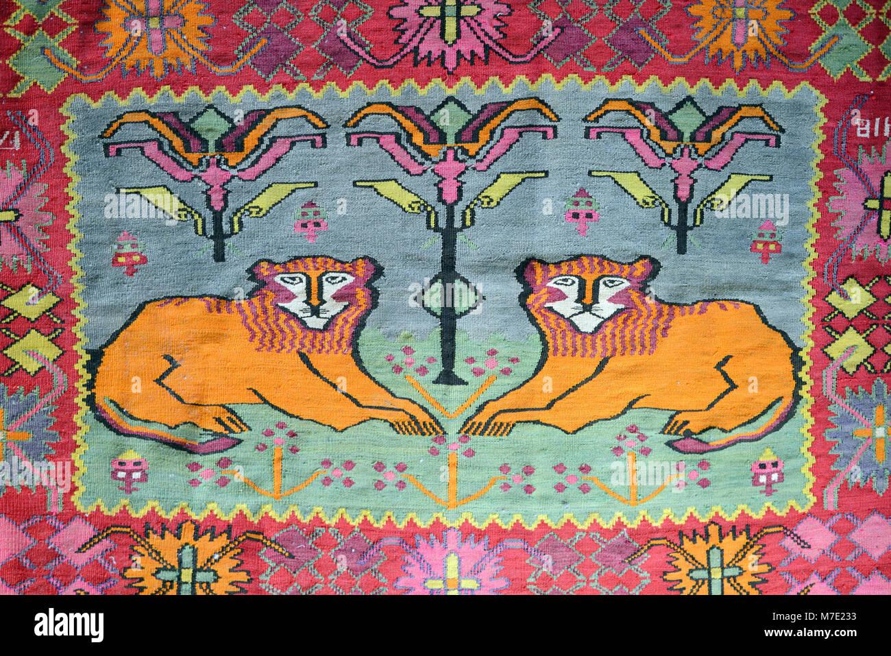 Stylised Lion Motif on Old Armenian Rug, Carpet or Kilim, Armenia - Stock Image
