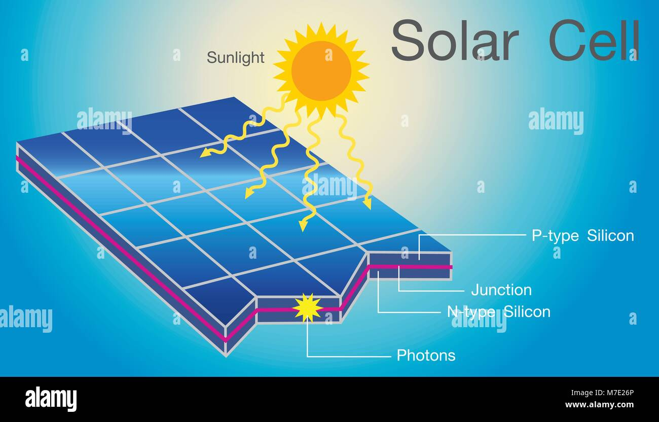 Solar cells in an integrated group, all oriented in one plane, constitute a solar photovoltaic panel or solar photovoltaic - Stock Vector