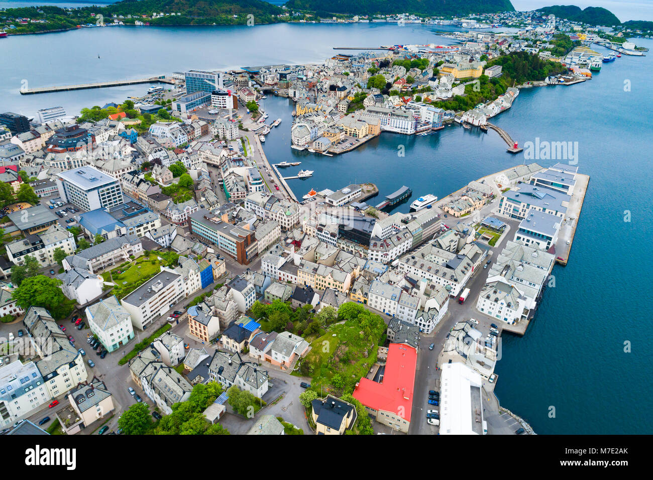 Aksla at the city of Alesund , Norway Aerial footage. It is a sea port, and is noted for its concentration of Art - Stock Image
