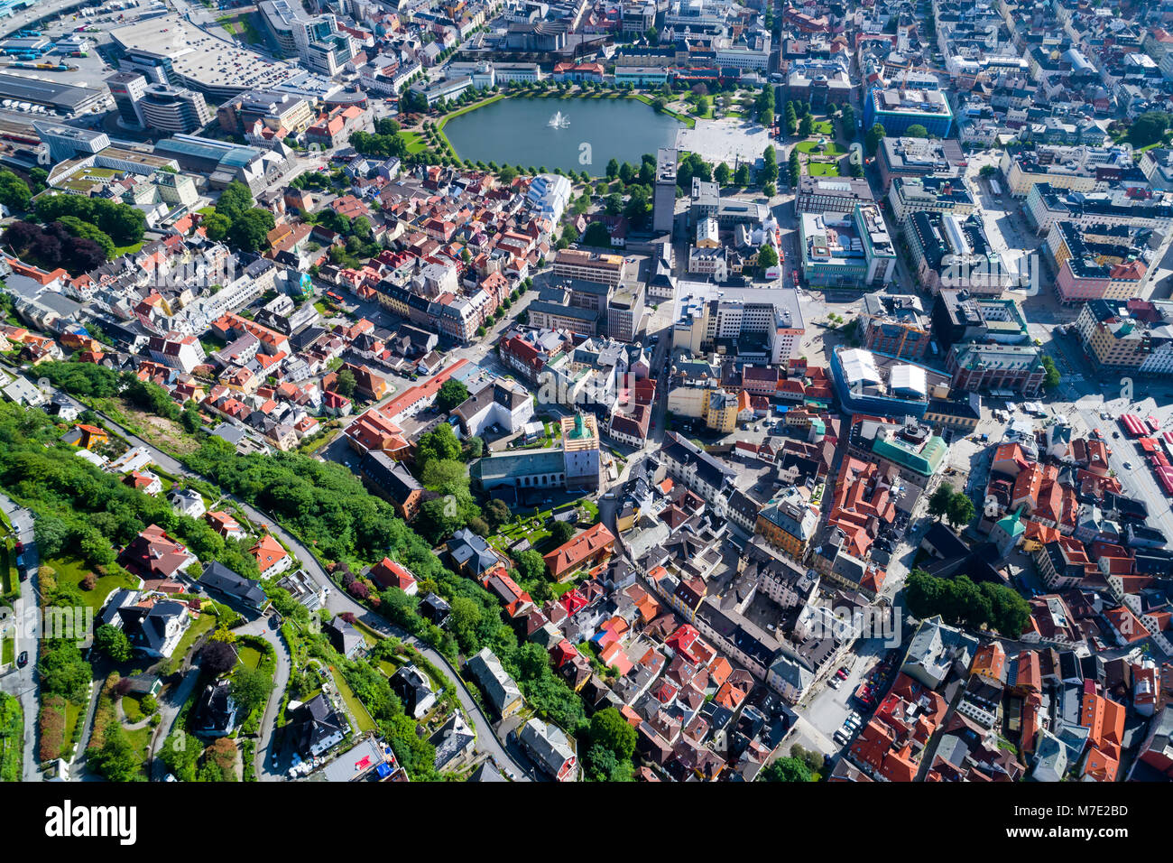 Bergen is a city and municipality in Hordaland on the west coast of Norway. Bergen is the second-largest city in - Stock Image