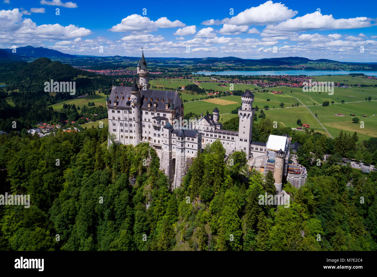 Neuschwanstein Castle Bavarian Alps Germany - Stock Image
