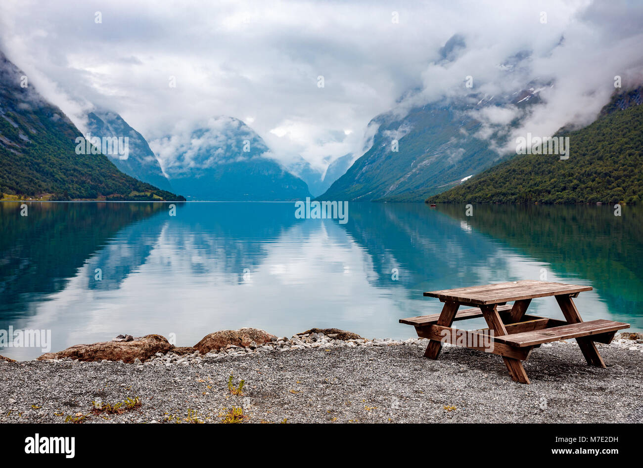 Beautiful Nature Norway natural landscape. lovatnet lake. Stock Photo