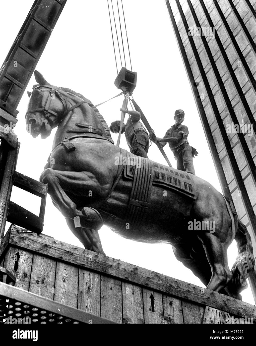 Trammell Crow's bronze horse delivered to dallas Tx USA, the Monument to Alvear Horse by Antoine Bourdelle (31 - Stock Image
