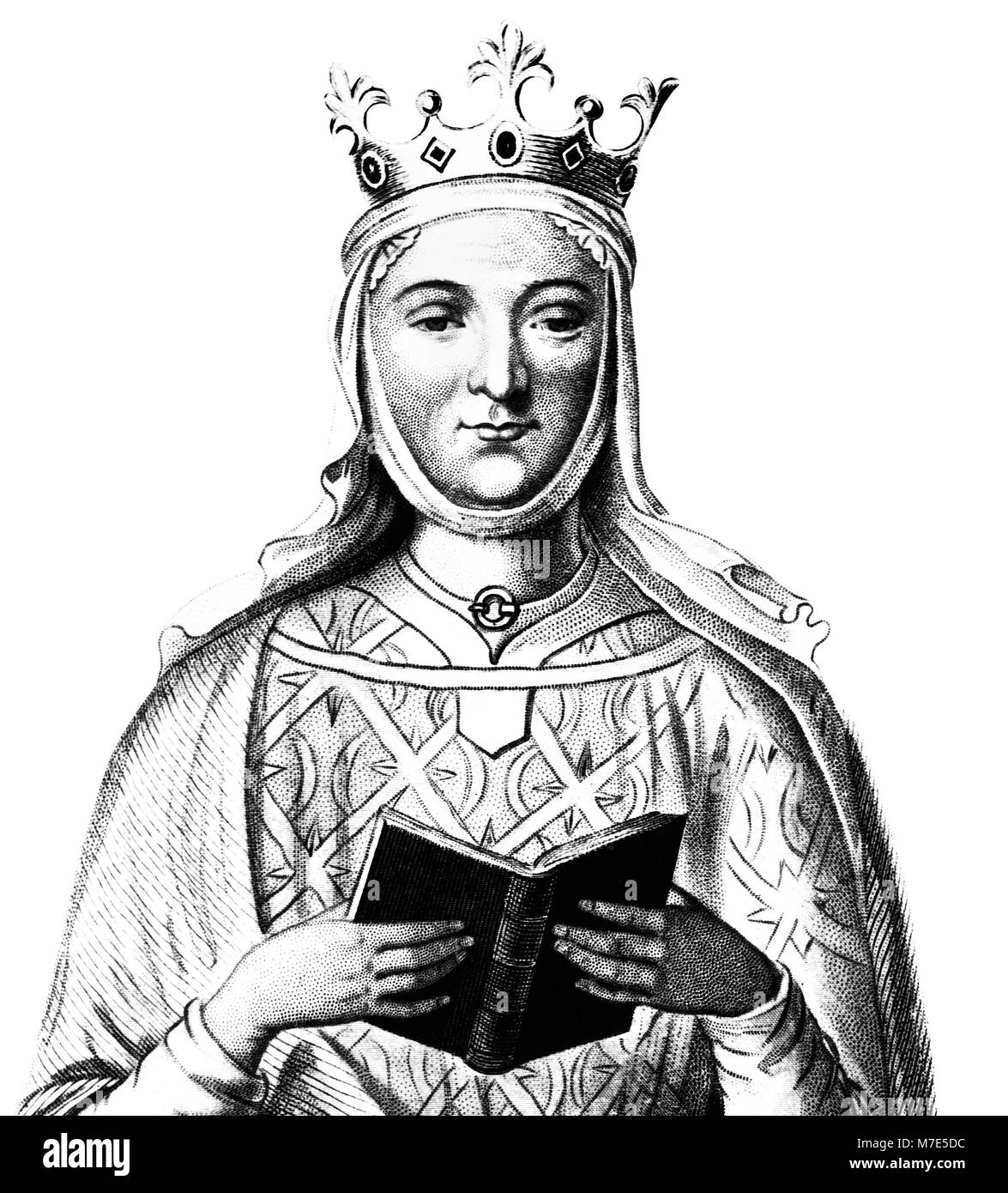 Eleanor of Aquitaine (1122-1204), engraving of the Queen consort of England (as the wife of Henry II) and of France - Stock Image